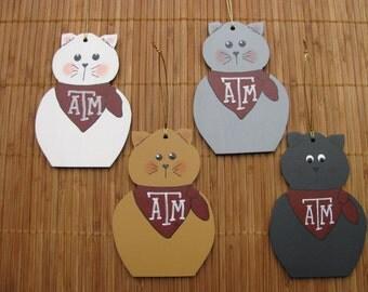 2158 Texas A&M Aggie cat ornament