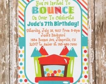 printable bounce party invitation, digital bounce house party invite, boy bounce house party, red green blue boy birthday invitation