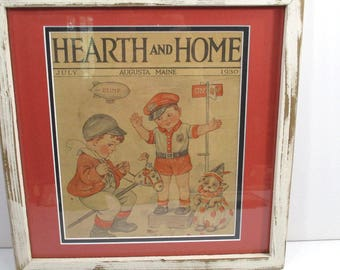 Vintage Little Boy Policeman Framed Magazine Cover Illustration, 1930s Hearth & Home Magazine, Child Room Decor, Cottage Chic