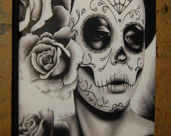 8x8 in Square Stretched Canvas Print - Felicity - Black and White Day of the Dead Sugar Skull Girl Gothic Home Decor