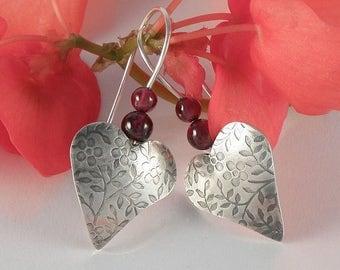 Silver Heart Earrings, Gift For Women Red Garnet Earrings Sterling Silver Earrings, Floral Heart jewelry Romantic Gift for Teens