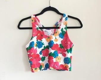 Vintage 90s Floral Racerback Crop Top / Tank Top / Bralette / Flower Top / Activewear