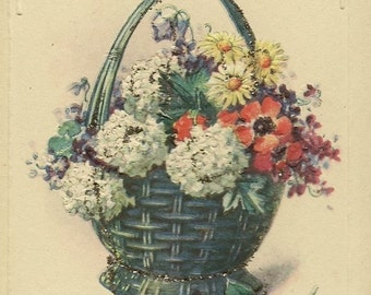 Vintage Birthday Postcard Basket of Flowers Accents of Glitter – Charming Tinsel Postcard with Birthday Verse 1926