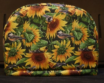 ARTI Toaster COVER with SUNFLOWERS and Birds for 2 slice Toastmaster with bagel setting