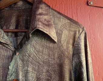 70s Shiny Ombre Abstract Disco Clubbing Semi Shiny Button Up Funk Work Dress Shirt Mens M
