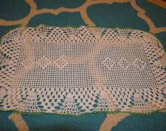 Vintage Crocheted Doily White with Green Trim