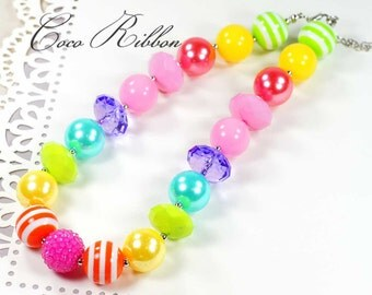 "16"" Large Chunky Rainbow Bubblegum Bead Necklace for Kid Child baby E27"