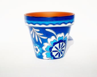 "Succulent Planter, Hand Painted  ""Indigo"" 3 Inch Terracotta Pot, Housewarming , Birthday Gift"