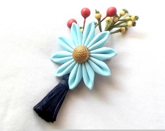 Earthy Flower Fascinator with Berries and Tassel Sky Blue and Navy Kanzashi
