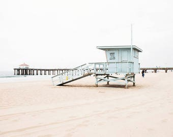 "Manhattan Beach, Seaside, Coastal, Neutral , Manhattan Pier, Beach Photography, White Beige, Lifeguard Tower, California  ""Manhattan View"""