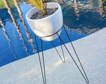 """29"""" Large Modern Tripod Hairpin Base Planter & Stand  - White or Green - Mid Century Eames Era Bullet Architectural Vintage Style Pottery IP"""