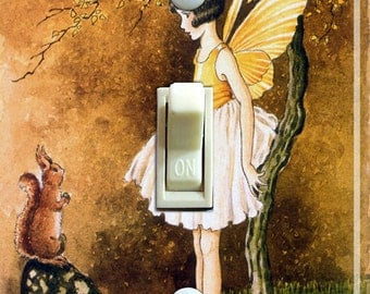Vintage forest fairy Illustration Switch Plate (single)  ***FREE SHIPPING***