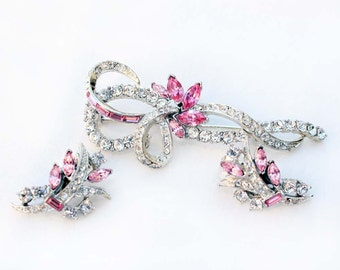 Vintage Coro Pegasus Rose Navette and Crystal Chaton Rhinestone Brooch and Earring Demi