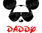 VINYL DecaL - DIY Iron On - Mickey with Sunglasses & Daddy Letters