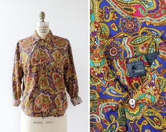 Paisley Shirt S • 90s Top • Liz Claiborne Button Up • Button Down Shirt • Vintage Button Up Shirt • Slouchy Shirt • Rayon Shirt | T765