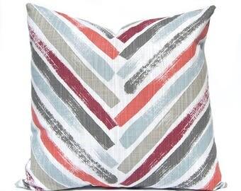 Designer Pillows -Throw Pillow Cover - Chevron Pillow Cover - Red Pillow Covers - Spa Blue Pillow Covers - Geometric Designs