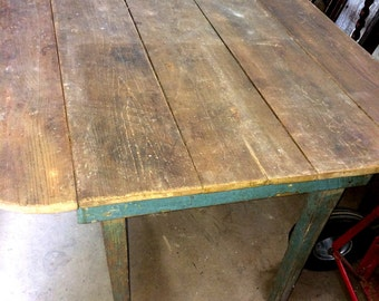 RESERVED FOR LEE Antique Farm Table, Primitive Drop Leaf Table, Old Blue  Table With
