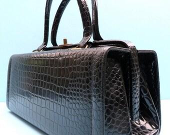Vintage 1960's/Faux Alligator Black Box Purse/Black Box Purse Handbag/Top Handle Black Box Purse