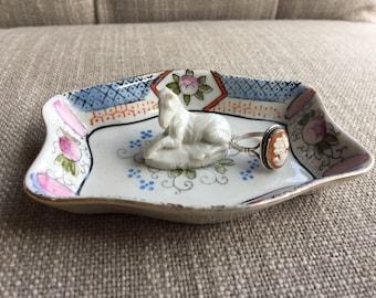 Zebra trinket dish   Antique dish ring dish   Assemblage jewelry storage