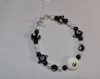 Black/White lampwork bracelet