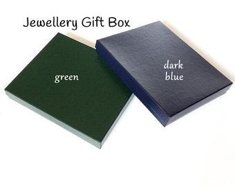 Large Jewellery Gift Box, Green or Dark Blue, Blue Gift Box, Green Gift Box, Cardboard Gift Box, 17.5cm x 14.5cm x 2.5cm,  Quantity 1