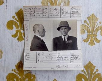 Mugshot 1913 San Francisco Police Department NY Salesman  In Bucket Hat Crime Criminal Antique