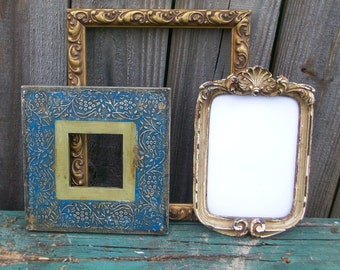 3 Ornate Distressed Picture Frames Gold White Blue Green Rustic Chic