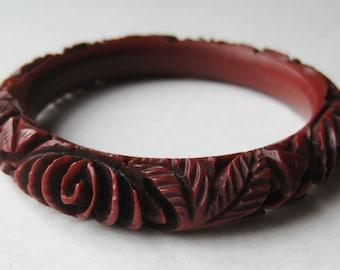 Vintage 40s Carved Faux Bakelite Dark Red Plastic Bangle Bracelet