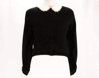 Size 10 Cashmere Cardigan - 1950s Black Button Front Sweater with Fluffy White Angora Collar - Luxury Knit & Metallic Trim - Bust 38 - 48686
