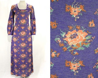 Size 8 Romantic Dress with 19th Century Sleeves - Purple 1970s Maxi Dress - Spring Cross Stitch Floral Jersey Knit - Square Neckline - 48804