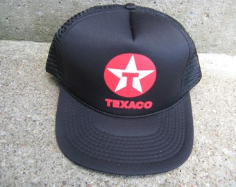 trucker cap texaco black mesh back snap  one size fits all