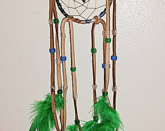 "Deer Skin Dream Catcher w/arrowhead Totem 3"" Hoop"