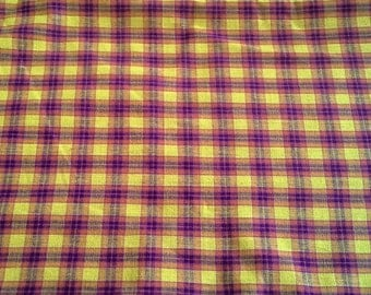 Colorful Yellow and Orange Plaid Cotton Fabric 3 3/4 Yards X0777