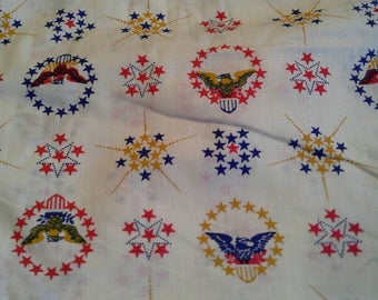 Stars and Eagle Symbols Patriotic Quilting Fabric  X0826