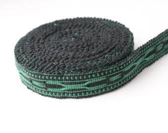 Uzbek black-green woven trim Jiyak. Ethnic Boho, Hippy trim