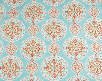 Blue canvas cotton fabric Floral Folklore pattern by meter
