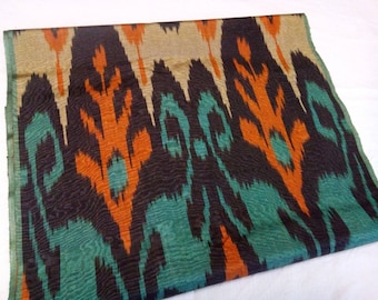 Uzbek traditional handwoven multicolor silk ikat fabric 220cm. F024