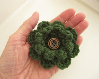 Crochet Flower Pin-Green Flower Pin-Flower Brooch- Crochet Flower-Scarf Pin-Green Flower with Button-Crocheted Pin- Flower Hat Pin