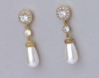 Pearl Drop Earrings, Ivory Pearl Bridal Earrings, Crystal & Pearl Wedding Earrings,  AUDREY 3 Pearl