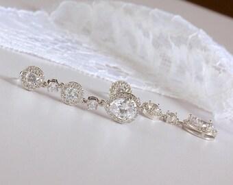 Crystal Drop Earrings, White Gold Crystal Earrings, Crystal Bridal Earrings, Teardrop Crystal Earrings, BRIGITTE SCT