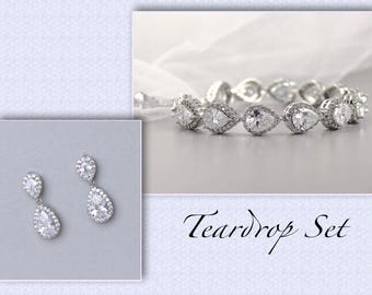Crystal Earrings & Bracelet Set, Crsytal Bridal Set, Teardrop Earrings Set, Crystal Jewelry Set, Gold Bridesmaids Set, TAMARA S4