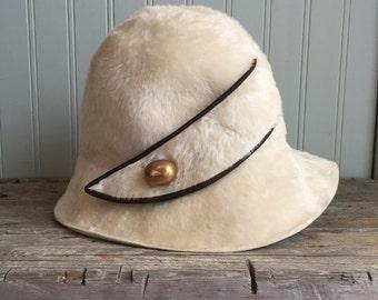 1960s Felt Faux Fur Bucket Hat