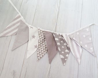 Gray banner , fabric banner , boy room decoration , fabric garland