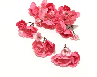 25 + PINK Begonia Flowers On Short Stems - Artificial Flowers, Silk Flowers, Flower Crown, Millinery, DIY Wedding, Corsage, Hat, Scrapbook
