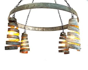 "BAJAN - ""Celestial"" - Wine Barrel Ring Chandelier - 100% RECYCLED"