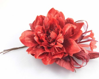 Millinery Flower/leaves/tassel bundle - Red