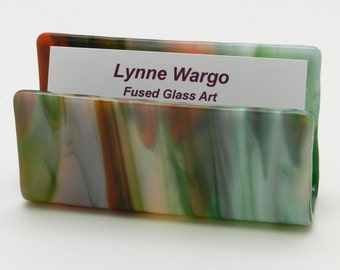Business Card Holder,  Card Holder,  Desk Accessory,  Office Gift,  Multicolored Streaky Glass, #57