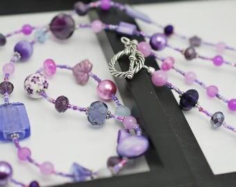 Purple Beaded Necklace, Long Necklace, Purple Necklace, Beaded Necklace, Long Beaded Necklace, Long Purple Necklace, Purple, Gift for Her