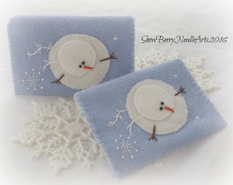 Embroidered Felt Snowman Gift Card Envelope