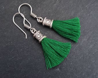 Mini Emerald Green Tassel Drop Earrings - Bohemian Boho Style Light Comfortable Daytime Jewelry - Authentic Turkish Style